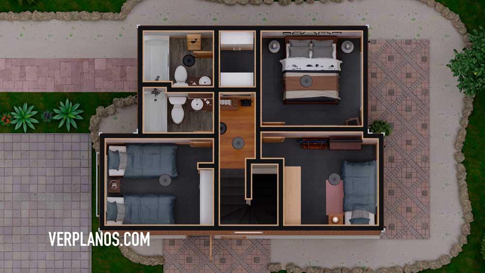 Vista previa plano de casa planta segundo piso