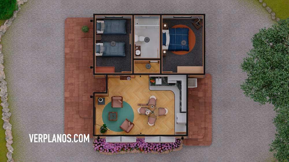 Vista previa plano de casa prefabricada en planta