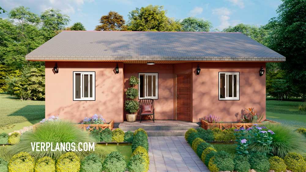 Fachada plano de casa económica y acogedora pequeña
