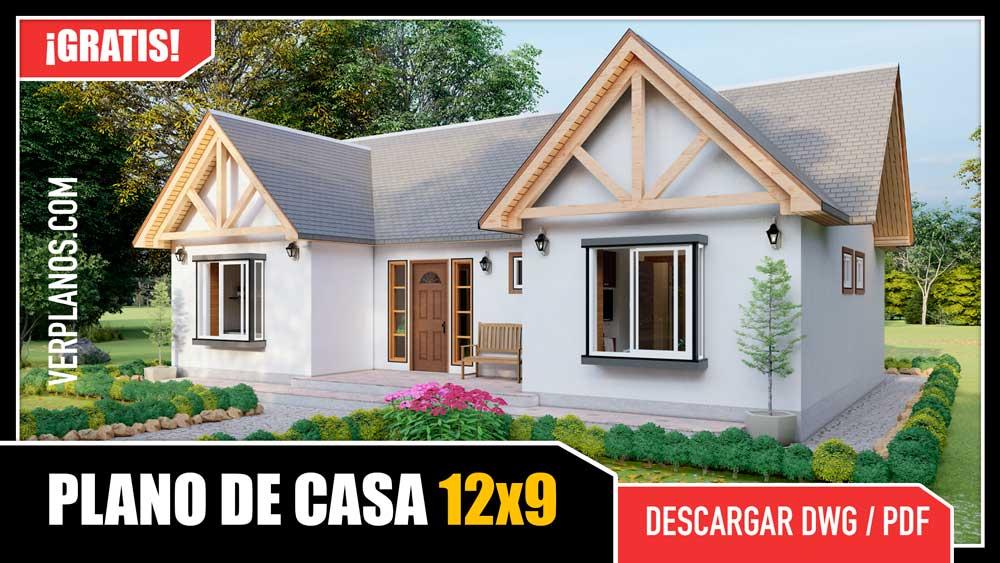 Hermoso plano de casa de 1 piso con 3 dormitorios y 2 baños descargar gratis dwg y pdf