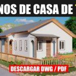 Plano de casa de 1 piso con 3 dormitorios y 2 baños gratis en formato DWg para Autocad y PDF