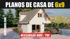 Plano de una casa de 2 pisos con 3 dormitorios y 2 baños en autocad y pdf gratis
