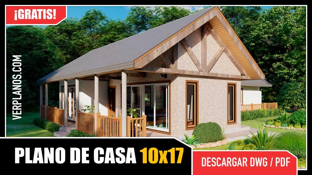 Plano de casa de campo con 2 dormitorios 1 baño gratis en autocad y pdf