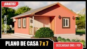 plano de casa económica y pequeña de 1 piso y 2 dormitorios en dwg para autocad y pdf ¡GRATIS!