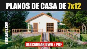 Planos de una casa económica de 1 piso 3 dormitorios 1 baño gratis en Autocad y PDF