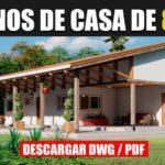 Planos de una casa de campo de 1 piso con 3 dormitorios y 1 baño en Autocad y PDF ¡GRATIS!
