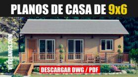 Planos de una casa prefabricada gratis de 3 dormitorios y 1 baño que puede descargar en DWG para Autocad y PDF