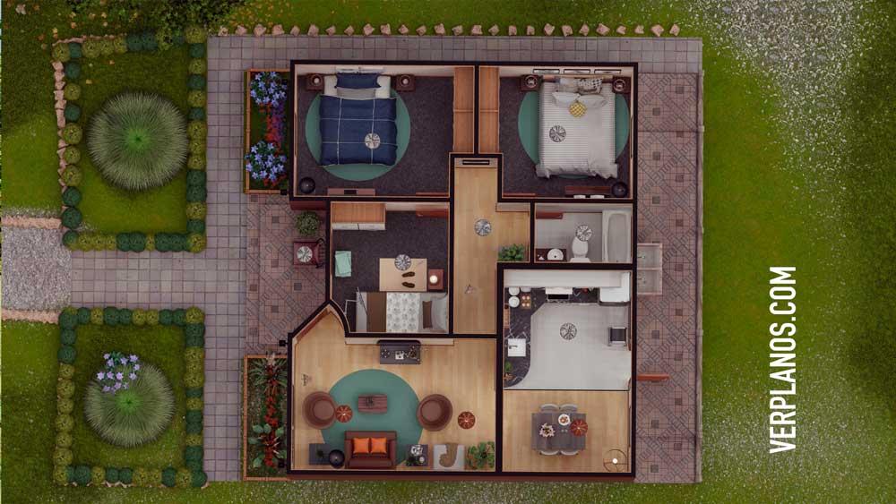 Planta plano de casa económica y acogedora pequeña