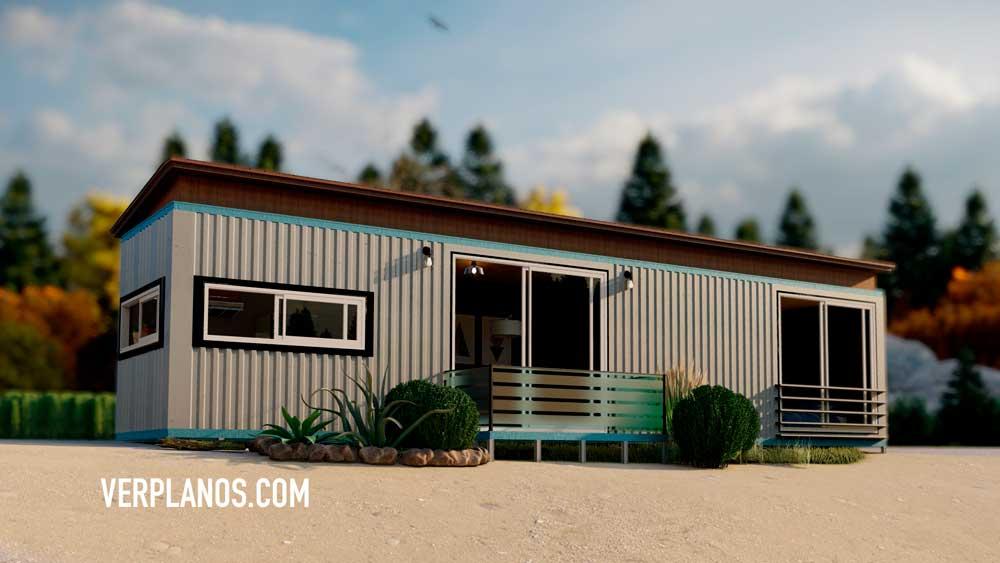 Vista previa de su fachada plano de casa contenedor gratis en autocad
