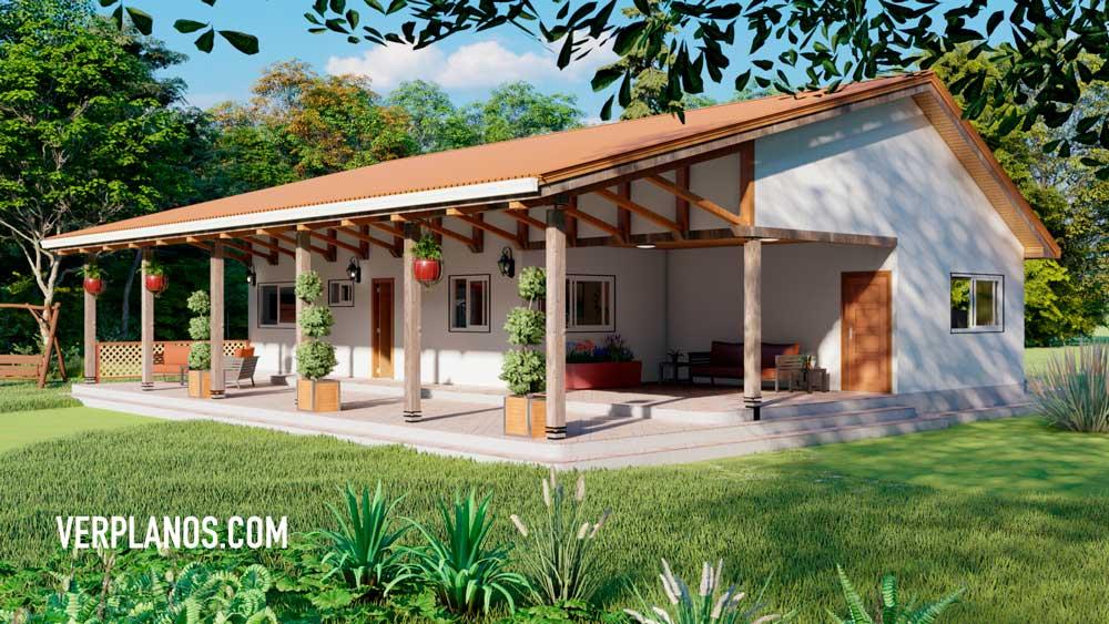Vista previa Fachada Planos de una Casa de Campo