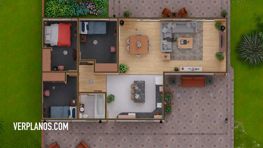 Vista previa Planta Planos de una Casa de Campo de 1 piso y 3 dormitorios