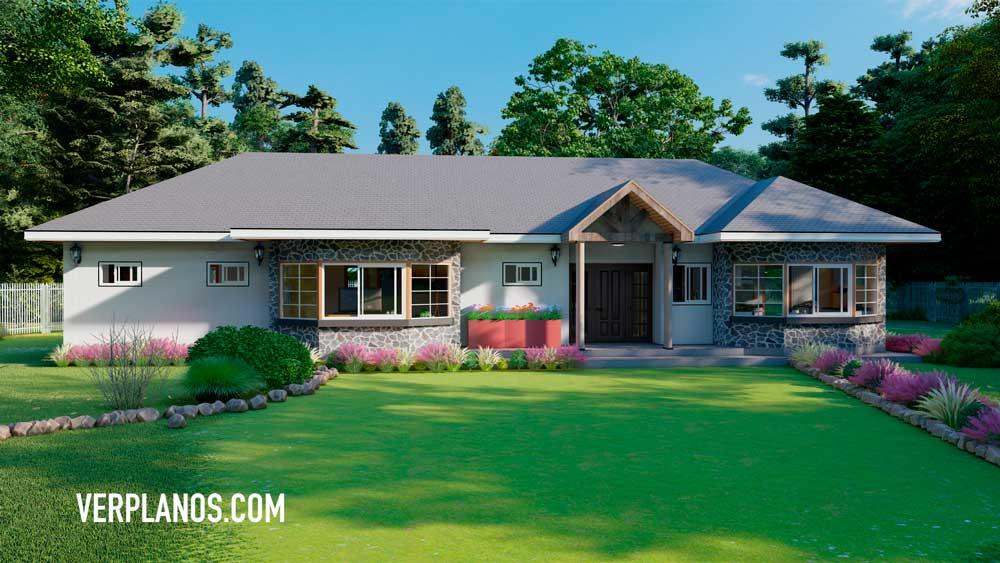 Fachada plano de casa de campo