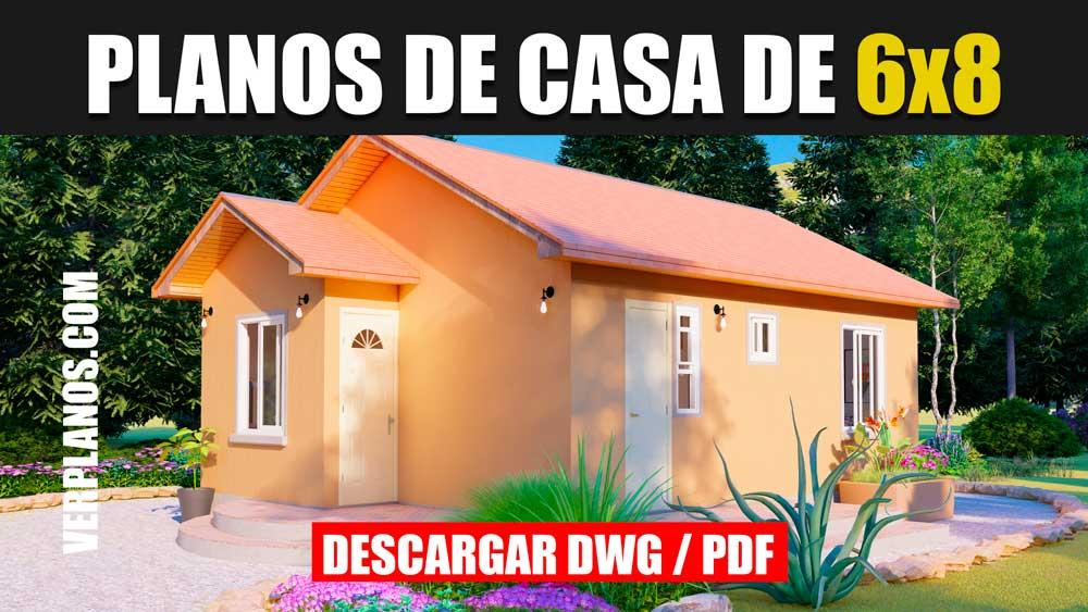 Planos de casas económicas y pequeñas de 2 dormitorios y 1 baño en Autocad para Descargar ¡GRATIS!