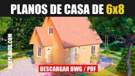 Plano de casa económica y pequeña gratis en autocad y pdf para descargar gratis