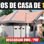 Hermoso plano de casa de 1 piso con 3 dormitorios garaje y 2 baños gratis en autocad y pdf