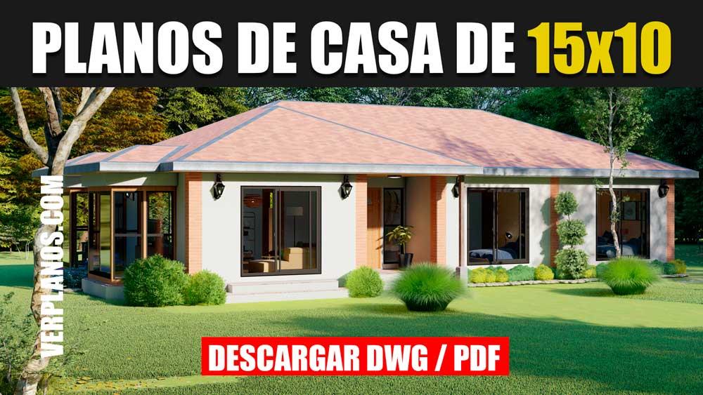 Plano de casa amplia y cómoda de 4 dormitorios y 2 baños gratis en Autocad y PDF