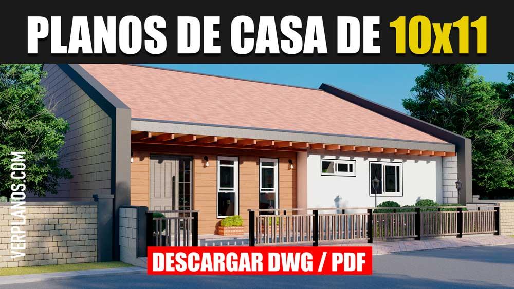 Plano de casa de 1 piso con 2 dormitorios 1 Baño Gratis en Autocad y PDF