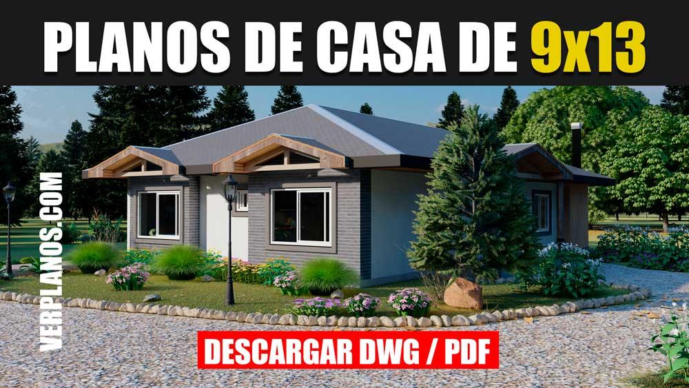 Plano de casa de 1 piso con 3 dormitorios y 2 baños gratis en dwg y pdf