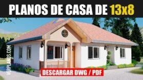 Plano de casa económica de 3 dormitorios con 2 baños gratis en dwg para autocad y pdf