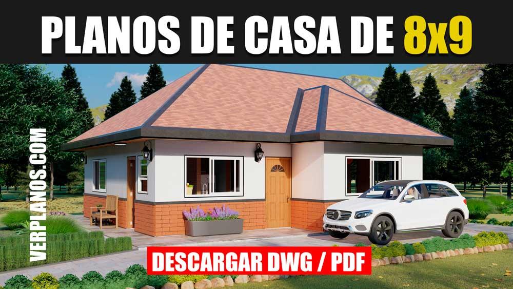 Plano de casa Económica y Pequeña de 2 dormitorios 1 baño gratis en autocad y pdf