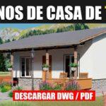 Plano de casa pequeña y económica de 1 piso con 2 dormitorios y 1 baño gratis en autocad y pdf