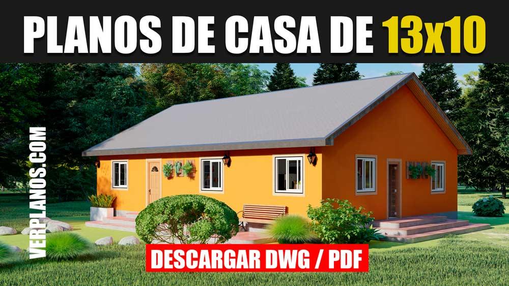 Plano de casa sencilla bonita y economica de 1 piso con 3 dormitorios gratis en autocad y pdf