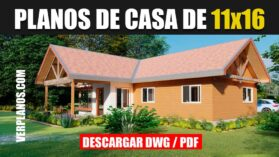 Plano de casa de campo con 4 dormitorios y 2 baños gratis en dwg para autocad y pdf