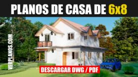 Plano de casa económica de 2 pisos pequeña y econ