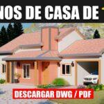 Plano de Casa Económica Pequeña y GRATIS en Autocad y PDF con 3 Dormitorios