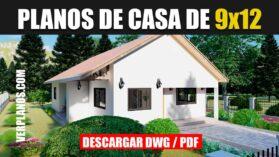 Plano de casa económica y pequeña de 3 dormitorios y 2 baños gratis en autocad y pdf