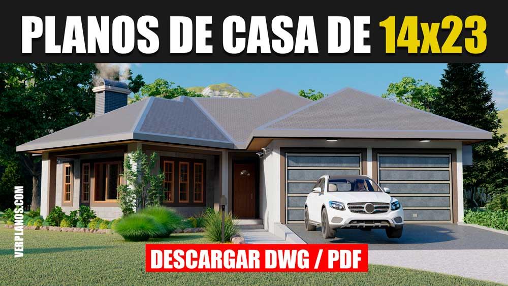 Plano de casa Grande de 1 piso con 4 dormitorios y 3 baños gratis en DWG para Autocad y PDF