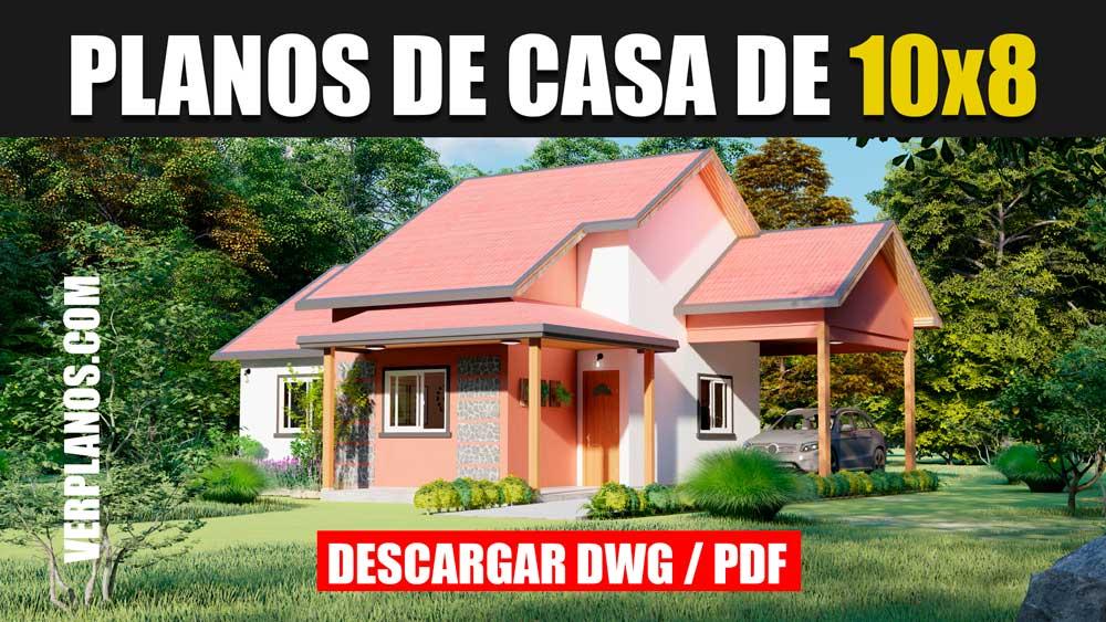 plano de casa pequeña y económica fácil de construir en autocad y pdf gratis