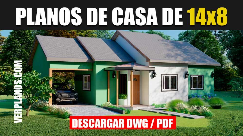 Plano de casa prefabricada pequeña y económica de 1 piso y 3 dormitorios en autocad y pdf gratis