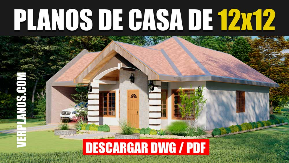 Planos de Casa 1 Piso con 2 Dormitorios y 1 Baño ¡GRATIS! en formato DWG para Autocad y PDf