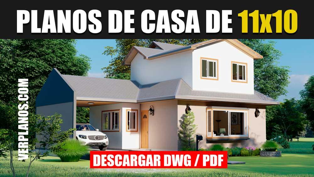 Plano de casa de 2 pisos con 4 dormitorios y 3 banos gratis en formato DWG para Autocad y PDF