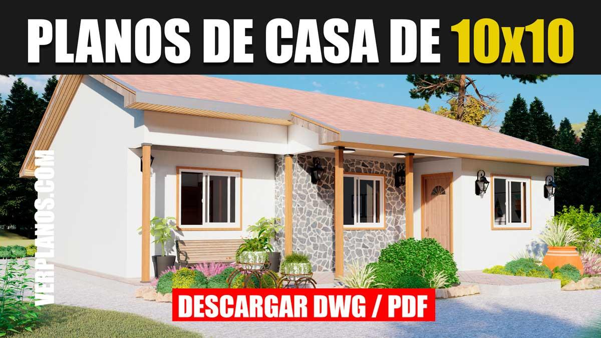 Plano de casa Económica y Bonita de 1 piso con 3 dormitorios y 2 baños en formato dwg para autocad y pdf ¡GRATIS!