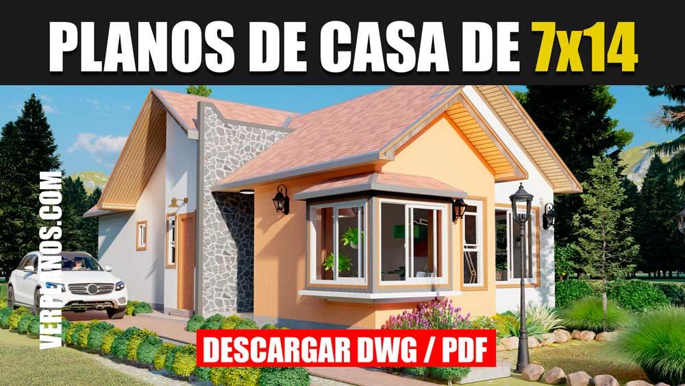 Planos de casa pequeña y económica de 3 dormitorios y 2 baños en autocad y pdf ¡gratis!