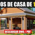 Planos de casa pequeña y económica de vacaciones cabaña prefabricada con terraza gratis para descargar en autocad y pdf