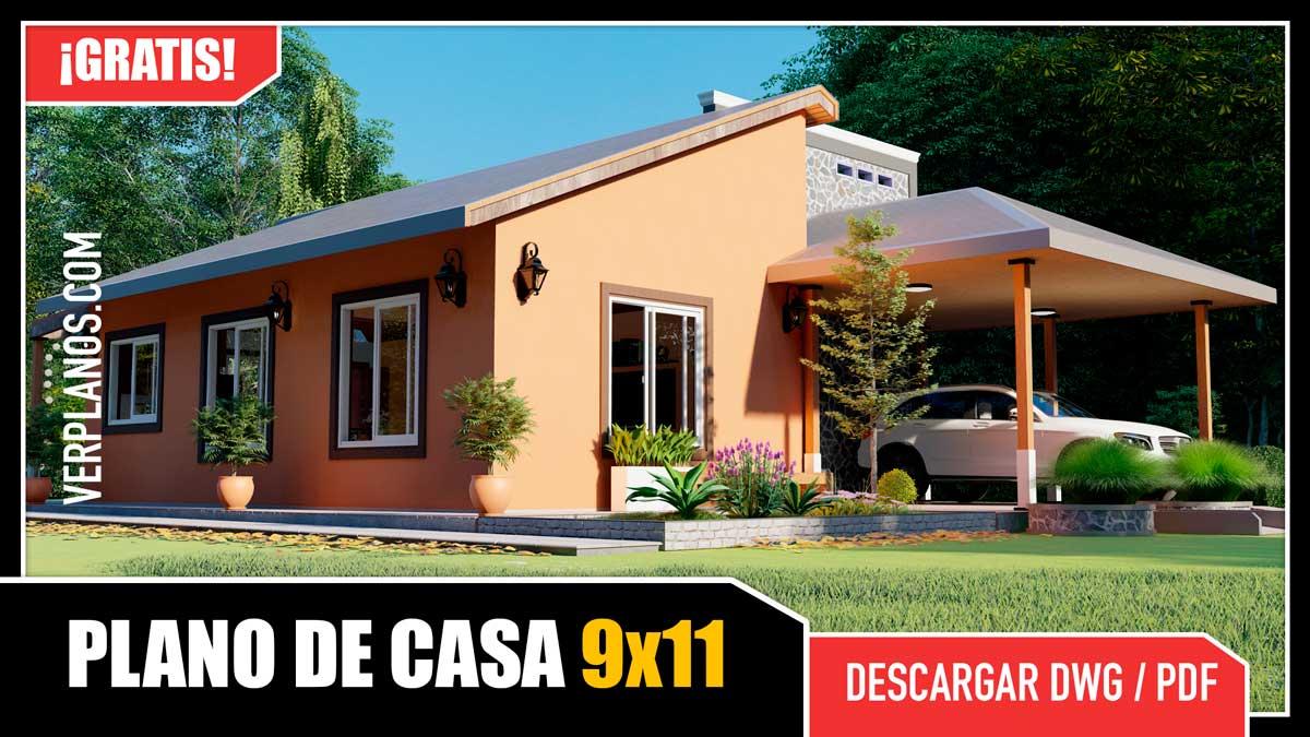Planos de Casas económicas de 2 dormitorios y 2 baños gratis en dwg para autocad y pdf