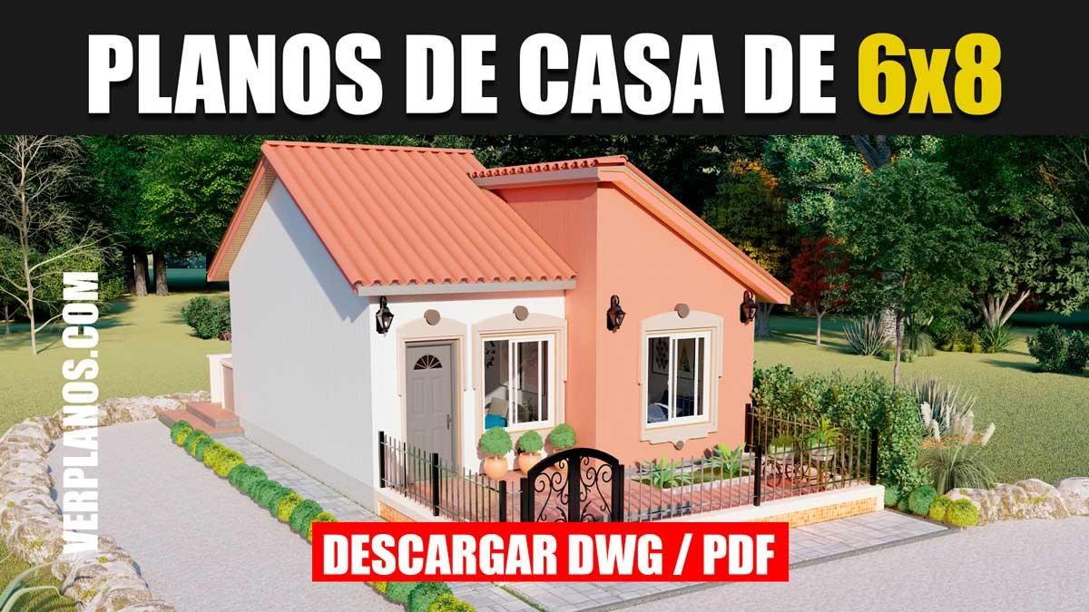 Planos de casa económica y pequeña de 1 piso con 2 dormitorios en formato dwg para autocad