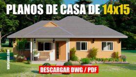 Plano de casa GRATIS con 3 dormitorios y 2 baños en formato DWG para Autocad y PDF