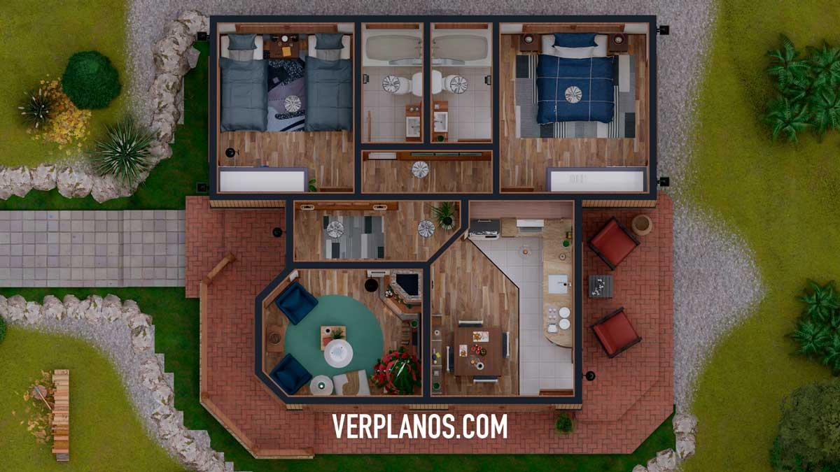 Vista previa de su planta plano de casa prefabricada ¡GRATIS!