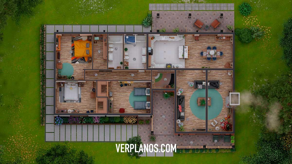 Vista previa Planta plano de casa grande y cómoda