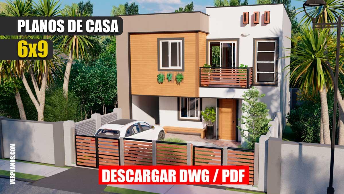 Planos de casa de 2 pisos moderna y económica pequeña para descargar gratis en dwg y pdf