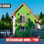 Planos de casa económica de 2 pisos y 3 dormitorios con 3 baños gratis en autocad y pdf gratis descargar