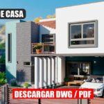 Planos de casa moderna y bonita de 2 pisos con 3 dormitorios 3 baños gratis para descargar en Autocad y PDF