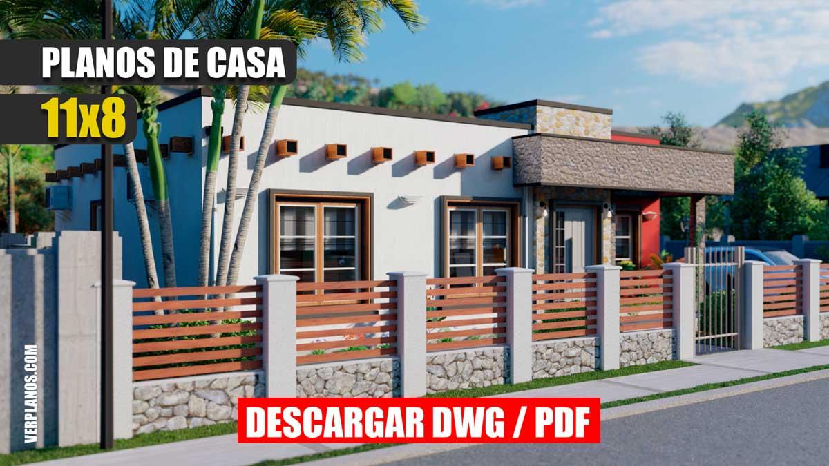 Planos de casa Moderna de 1 Piso con 3 dormitorios 2 baños mediterránea gratis en autocad y pdf para descargar
