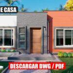 Planos de casa Moderna y Económica de 1 piso con 3 dormitorios y 2 baños gratis en autocad y pdf