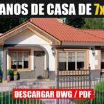 Planos de casa prefabricada económica y bonita de 1 piso con 2 dormitorios y 2 baños en dwg para autocad y pdf ¡GRATIS!