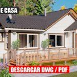 Planos de Casa Prefabricada económica y pequeña de 1 piso con 3 dormitorios y 2 baños en DWG para Autocad y PDF ¡GRATIS!